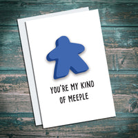 Blue meeple board game greetings card for geeks and gamers