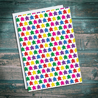 Meeple greetings card. Multicolour, red yellow, green, blue, pink, purple. Meeples