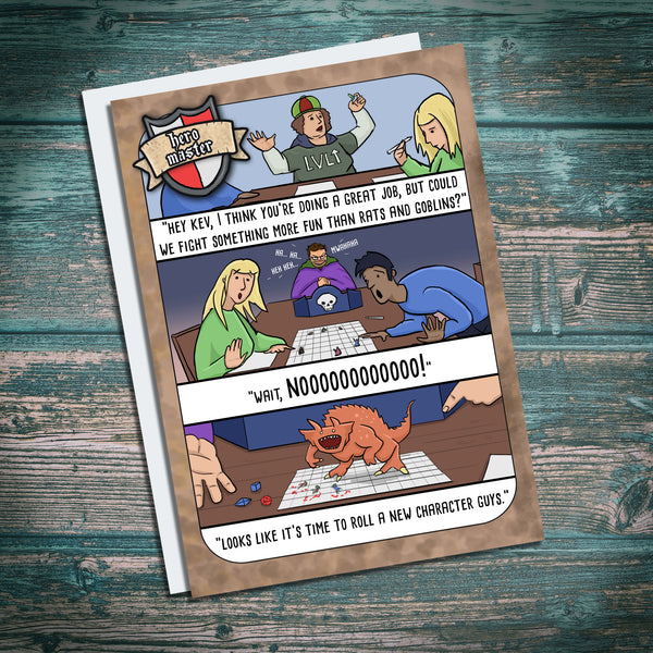 Dungeon Master. Tarrasque, DND, Geeks, roelplay greetings card. funny. Hero Master