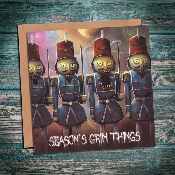 Creepy nutcracker christmas card, alternative horror christmas cards