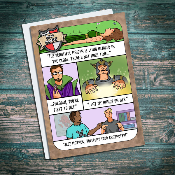 """The Paladin"" Funny Geek RPG Humour Greetings Card from Hero Master"