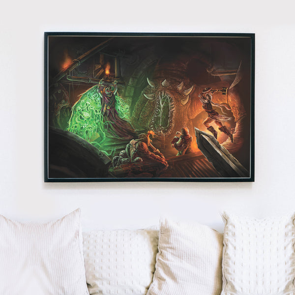 Huge fantasy wall print, dungeon, demons, monsters and adventurers, RPG, dungeons and dragons poster