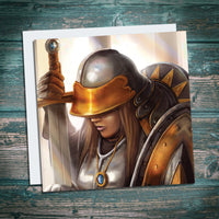 female paladin fantasy artwork greetings card, birthday card for geeks