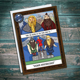 Pube beard, beard of the year. Vikings with beards. Greetings card with funny comic strip.