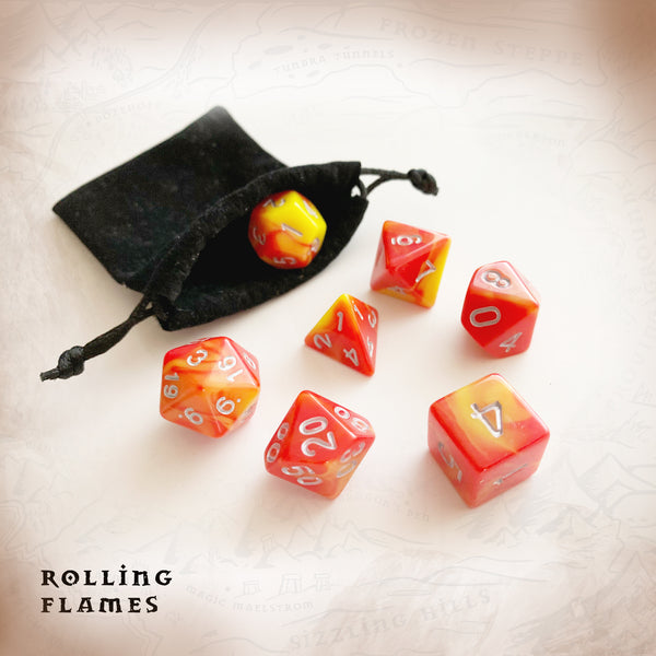 """Rolling Flames"" Polyhedral Dice Set of 7 Dice with Soft Dice Bag."