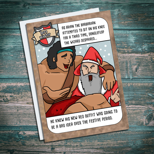 Funny Fantasy RPG dungeons and dragons christmas card
