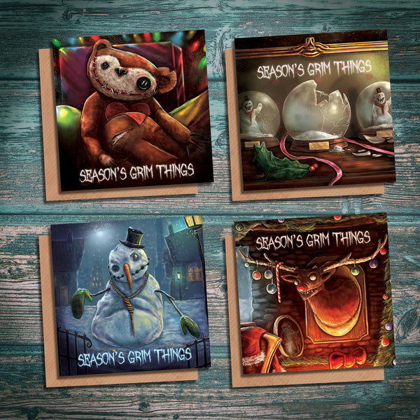 Season One of Season's Grim Things creepy alternative horror Christmas cards. Pack of four