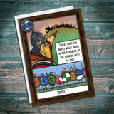 Humourous viking meme greetings card about shield wall