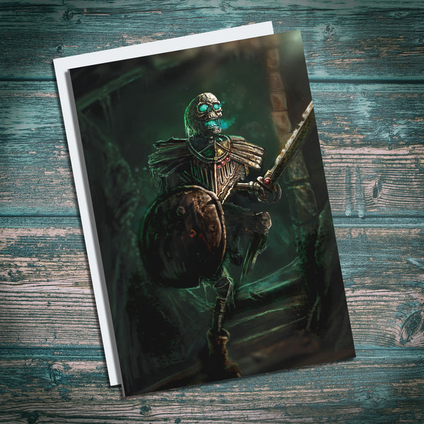 Skeleton Warrior greetings card. Undead birthday card. Warhammer birthday card