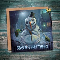 Snowman - Season's Grim Things creepy alternative horror Christmas card