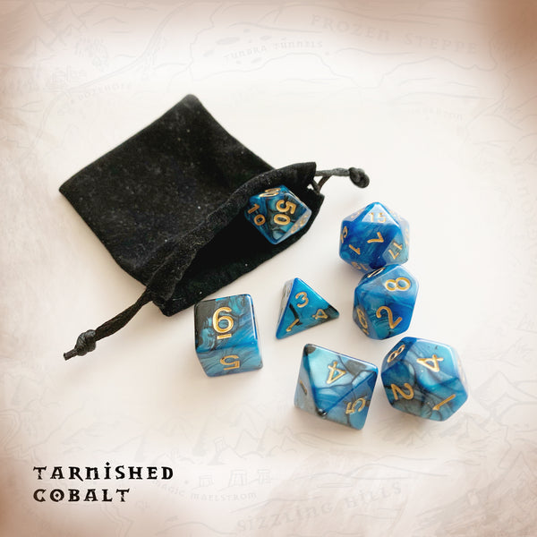 Tarnished Cobalt Dice. Geekings Cards. Polyhedral Dice d20