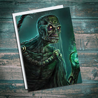 Undead Warlock, World of Warcraft, Skeleton, Undead wizard. Green Greetings card, birthday card