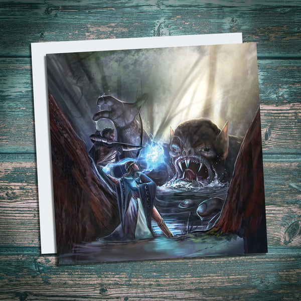 fantasy greetings card, dungeons and dragons greetings card, wizard, ranger and troll scene