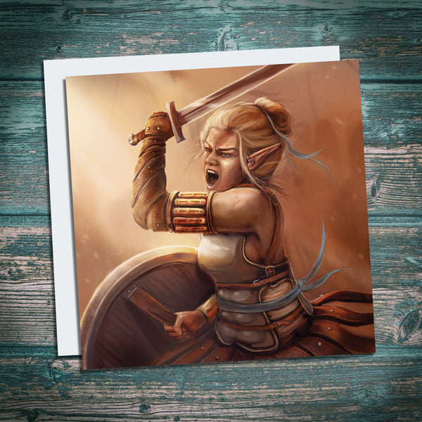 fantasy art greetings card, female elf warrrior, shieldmaiden