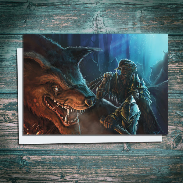 orc warg rider artwork on greetings card by The Noble Artist inspired by Tolkien's Lord of the Rings and The Hobbit