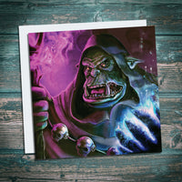 orc warlock warhammer and world of warcraft inspired greetings card for geeks