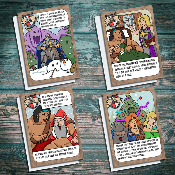 Dungeons and Dragons Christmas Card parody of fantasy games. Four pack