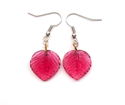 Translucent Rose Pink Leaf Drop Earrings