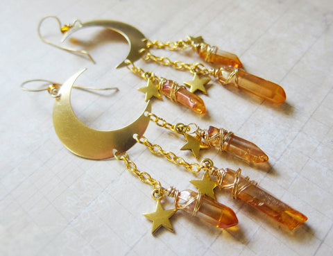 La Lune - Golden Moon and Stars Earrings With Quartz Points