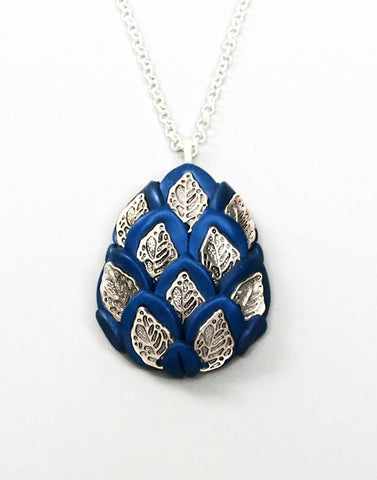 Blue and Silver Royal Dragon Egg Pendant