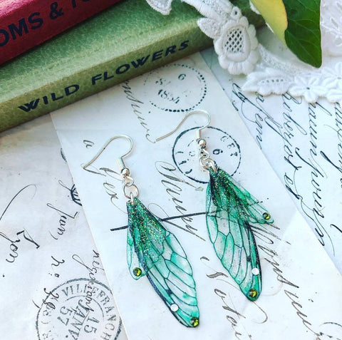 Magical Green Faerie Earrings with Silver Hook