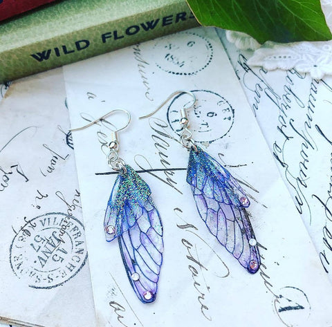 Magical Purple Faerie Earrings with Silver Hook