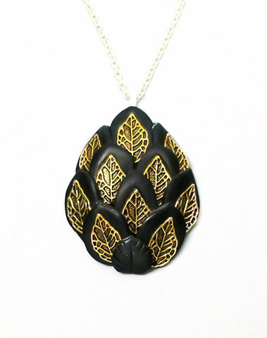 Black and Gold Royal Dragon Egg Pendant
