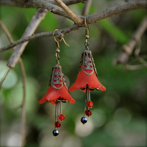 Firebird Scarlet and Black Flower Earrings