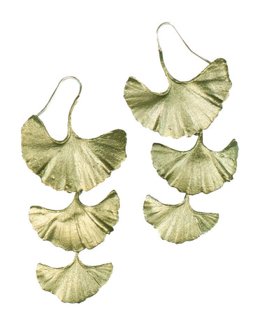 Ginkgo Drop Wire Earring