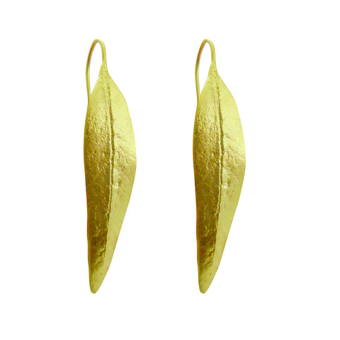 Gold Eucalyptus Leaf Earring