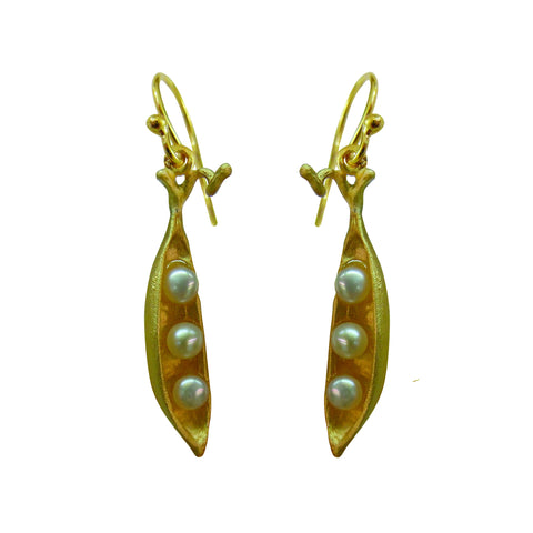 Petite Pea Pod Drop Earrings
