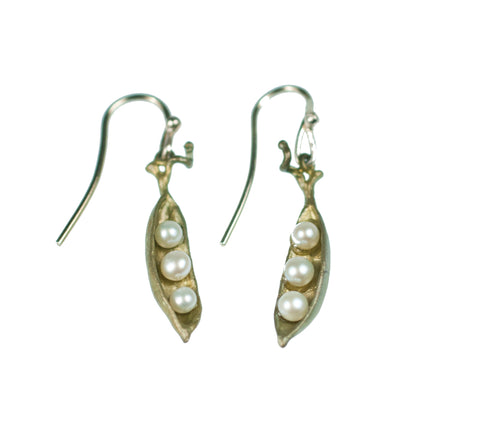 Green Petite Pea Pod Earrings