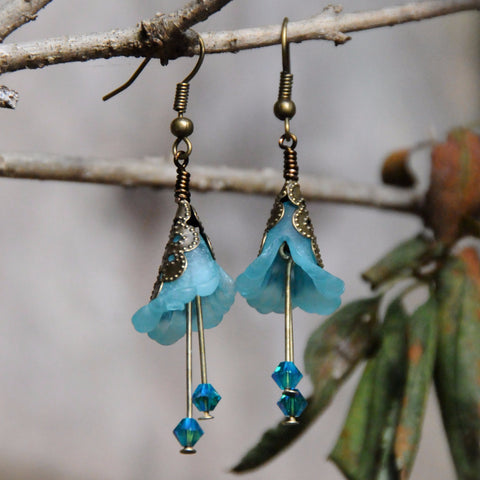 Aqua Blue Snow Queen Flower Earrings