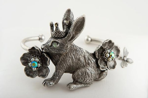 Crowned Bunny with Flowers Bangle