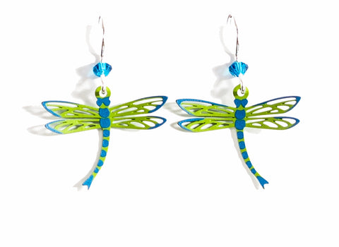 Blue and Green Copper Dragonfly Earrings