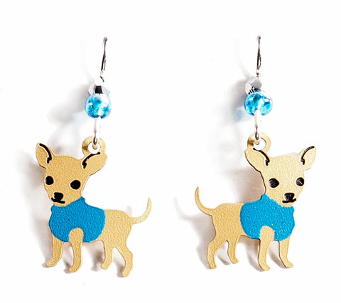 Boy Chihuahua Earrings - Hand Painted Copper