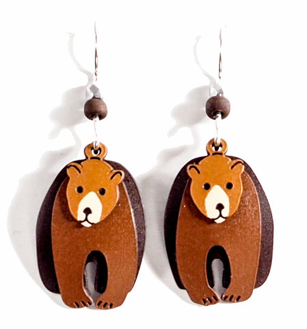 Brown Bear Triple Layer Hand Painted Copper Earrings