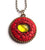 Cadmium Red Dragon Pendant with Gold Cabochon