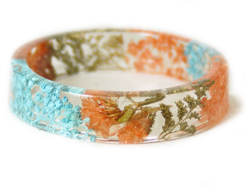 Coral, Teal and Gold Flower Resin Bracelet