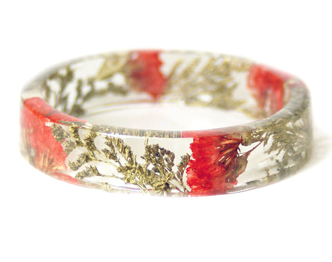 Poppy Red Flower and Gold Foliage Resin Bracelet