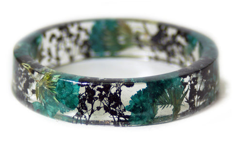 Teal and Black Flower Resin Bracelet