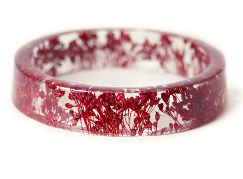 Cranberry Colored Flower Resin Bracelet