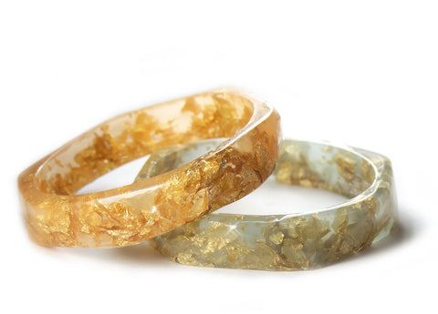 Faceted Gold Flake Bracelet -- Mint or Peach