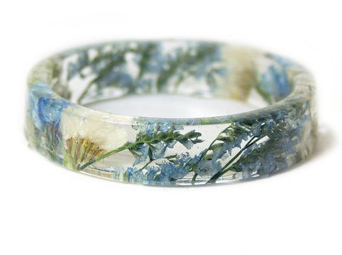 Clouds and Sky Flower Resin Bracelet