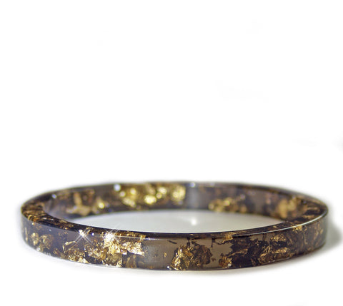 Gold Flake Stacking Resin Bracelet -- Black