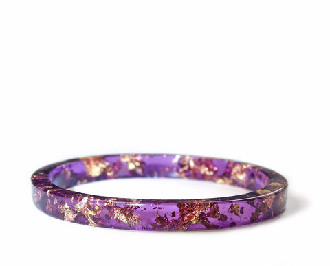 Gold Flake Stacking Resin Bracelet -- Purple