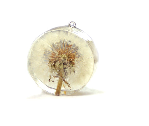 Summer Dandelion Resin Pendant