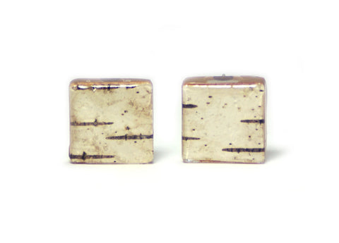 Birch Bark Resin Earrings