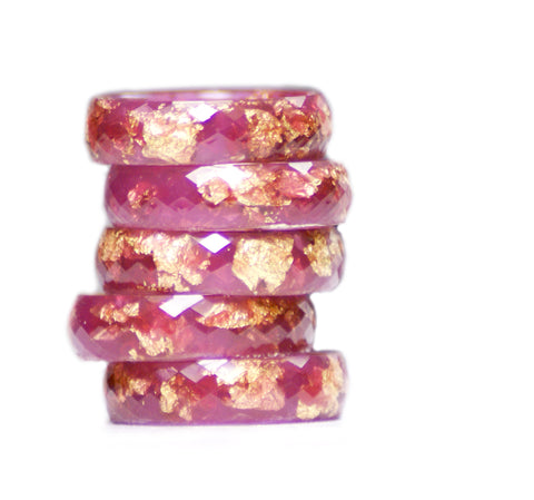 Raspberry and Gold Flake Resin Ring, Size 5-9