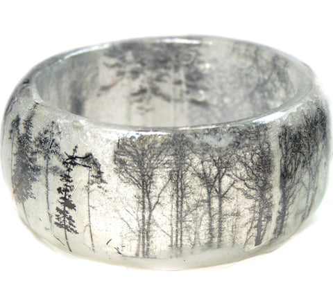 Fog and Snow in the Forest Resin Bracelet